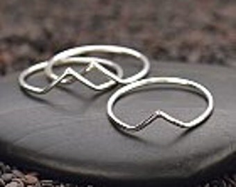 Sterling Silver Chevron Stacking Ring