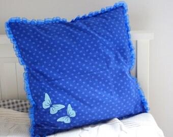 Pillowcase with embroidery. Blue pillowcase. Pillow cover, cotton pillow case,handmade pillowcase,decorative pillow,pillow,decorative pillow