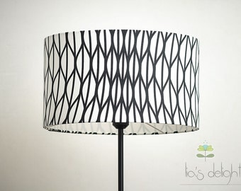 "Geometric Drum lampshade ""Lines in black and white"""
