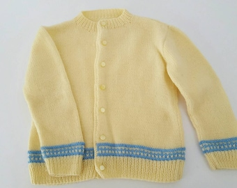 Vintage Hand-Knit Baby Sweater in Yellow and Blue