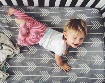 Crib Sheet Gray Linen Arrow, Fitted Crib Sheet, Baby Bedding, Crib Bedding, Organic Crib Sheet, Crib Sheets, Arrow, Woodland Crib Sheet