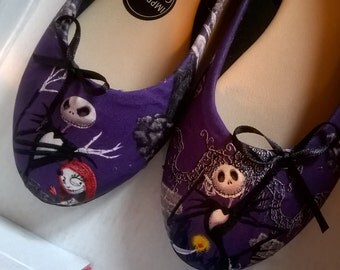 Customised Nightmare before christmas Jack and sally Fabric covered flat shoes Handmake to order