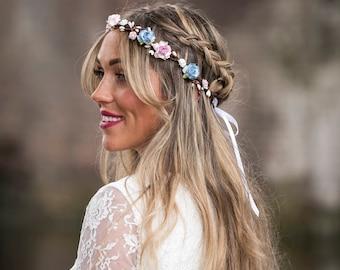 Blaue Blumenkrone, Kornblume blau und rosa rose Blumenkrone, Hochzeit Kopfschmuck, Blumenmädchen Blumenkrone, Boho Hochzeit Kopfbedeckungen