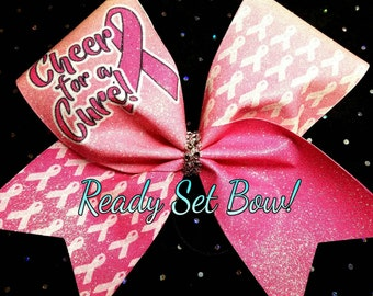 Cheer for a Cure Glitter cheer bow