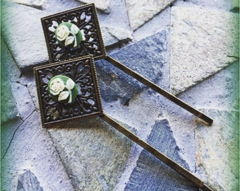 Floral Green Antiqued Brass Filigree Bobby Pin Set