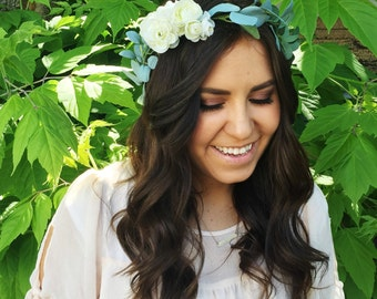 Ranunculus + Greenery Flower Crown / Greenery Bridal Flower Crown / Bride Greenery Crown / Natural Flower Crown / High Quality / Bohemian