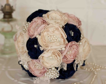 Fabric Flower Bouquet, Lace Bridal Bouquet, Cream, Navy and Soft Pink Brooch Wedding Bouquet