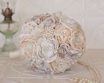Vintage Inspired Fabric Flower Bouquet, Lace Bridal Bouquet, Ivory, Cream and Champagne Brooch Wedding Bouquet