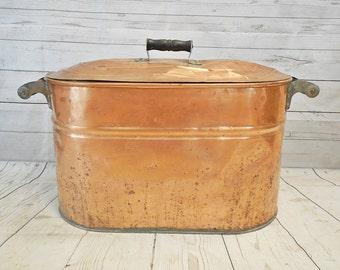 Antique Copper Boiler Wash Canning Basin, Wood Handles Original Lid