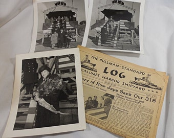 WWII Era 8x10 Photos + Newspaper - 1945 Launch of PCE(R) 860 US Navy