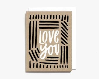 Love You Screen Printed Folding Card