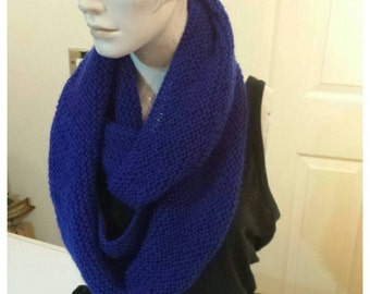Royal blue infinity scarf knitted infinity scarf hand knitted infinity scarf royal blue scarf royal blue scarf blue infinity scarf knitted