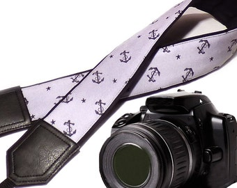 Anchors and Stars camera strap. DSLR / SLR Camera Strap. Camera accessories. Camera strap for Nikon, Sony, Fuji, Panasonic, Canon & other.