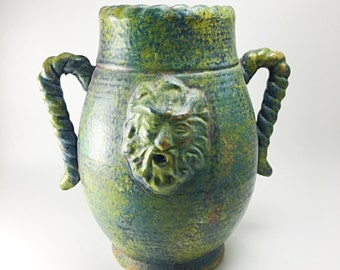 Vintage Bacchus Hand Thrown Double Handled Jar, Vintage Large Green Primitive Studio Pottery Vase