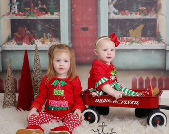6ftx5ft Christmas Store Front- Santas Workshop Vinyl Photography Backdrop