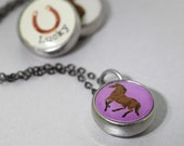 kids necklace, kids jewelry, pendant, photo jewelry, horse charm, interchangeable, kids accessories