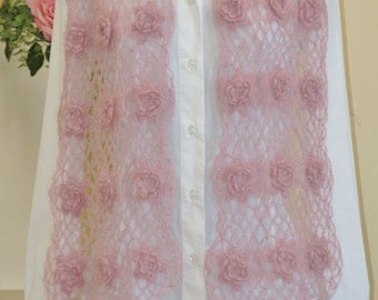 Dusty Roses Irish Crochet Scarf