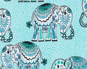 Jules and Indigo Cobalt Elephants Cotton Fabric by Valorie Wells