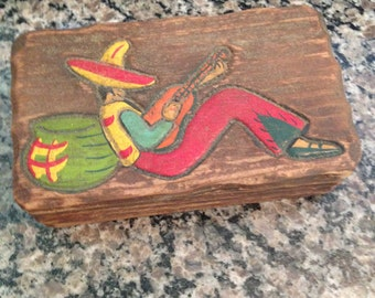 Wooden Box with Guitar Playing Man with Sombrero
