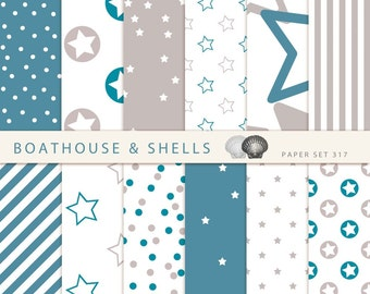 TURQUOIS STARS Scrapbooking paper pack - 12 digital papers with stars/dots/stripes prints in turquois and taupe, download, printable, 317