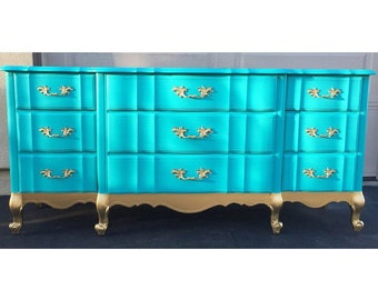 SAMPLE: Aqua French Provincial Dresser, antique furniture, nursery changing table