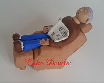 Retirement Cake Topper, Man Cake in Chair Topper, Fondant Handmade Edible Recliner, Dad, brother, husband, son, birthday cake, father's day