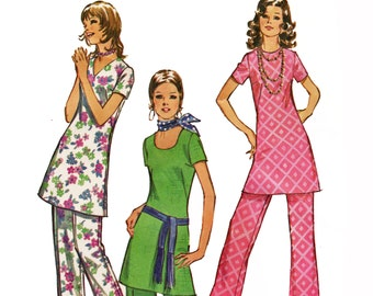 1970s Long Tunic Top Pattern with Neck Variations Tunic and Pants 1970s Pattern Simplicity Jiffy 9363 Bust 38 UNCUT