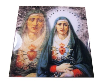 Our Lady of Sorrows - LIMITED EDITION collectible ceramic tile - Virgin of Sorrows with rhinestones religious gift idea  catholic icon gift