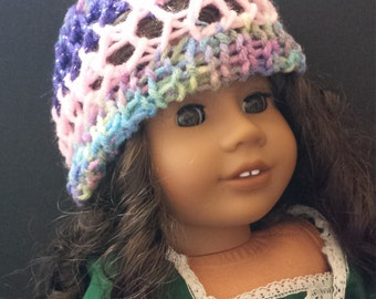 American Girl Doll Hat knitted Handmade 18 inch doll Multicolor Hat