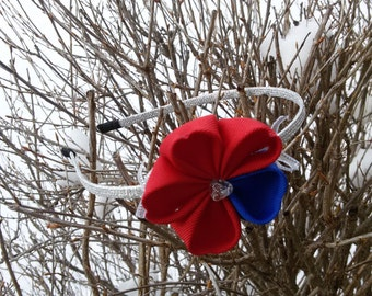 Red-blue hearts headband