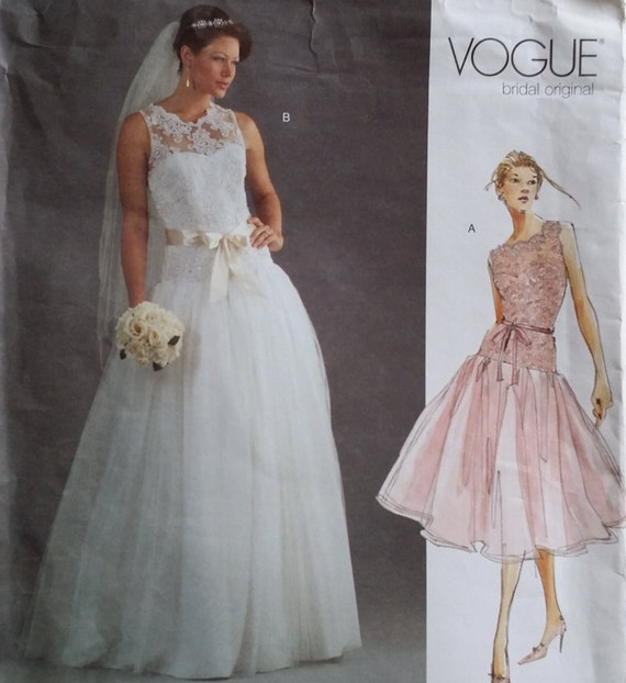 Vogue 2892 bridal original size 12 16 drop waist lace for Lace wedding dress patterns to sew