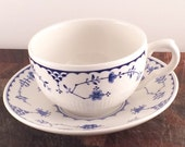 Danish Tea cup and Saucer - Masons of Denmark - Vintage Blue and White Teacup - Pretty Floral Large Tea cup and saucer -  Denmark Blue china