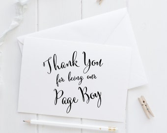 Page Boy thank you wedding cards, bridal party cards, on our wedding day, wedding note card