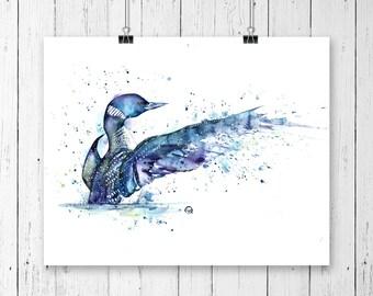 Loon, Bird art, Canadian Wildlife, Cottage decor, loon watercolour, Loon print, Bird print, Bird lover, Cottage art, loose watercolour