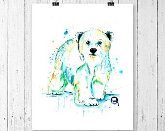 POLAR BEAR 3 PRINT, polar bear art, polar bear, watercolour, polar bear baby, nursery art, gallery wall, Canadian art, arctic wildlife