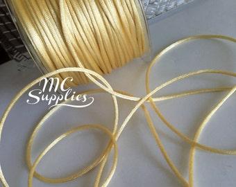 5 yds,Yellow rattail cord,rat tail cord,cola de rata,satin cord,jewelry cord,embellish cord,kumihimo braiding,beading cord,macrame cord.