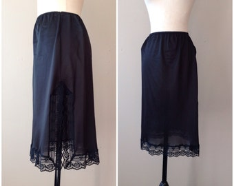 "M / 24"" Half Slip / Skirt Extender / Black Nylon with Wide Lace and Slit / Medium / Vintage Shapewear Lingerie by Fortune"