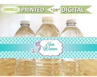 Mermaid Water Bottle Labels, Mermaid Birthday Decoration , Sea shell Birthday Water Bottle Labels, Under the Sea Birthday, LemonBells