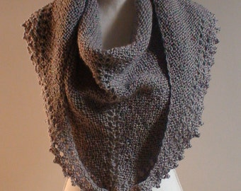 Triangle Shawl Triangle Scarf Soft Gray shimmer  Hand Knit