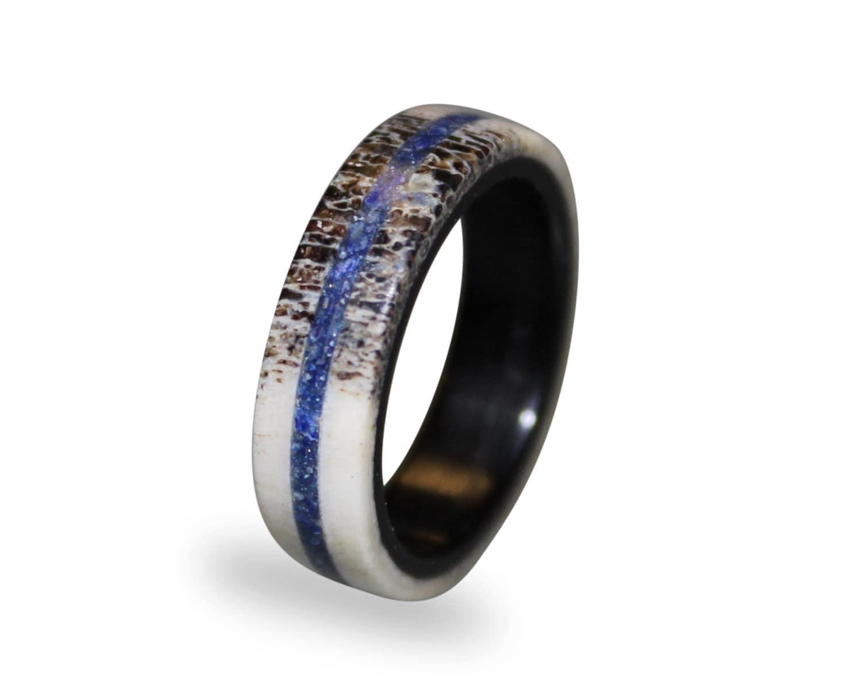 bone ring deer wedding bands Deer Antler Fashion Ring Antler Ring with Lapis Lazuli Inlay Lapis Lazuli Ring Ebony Wood Ring