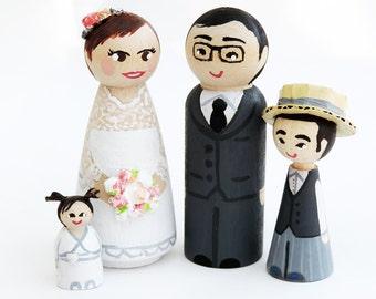 Wood figurines family wedding / wedding cake Figurines / Peg doll wedding / wedding gift / wedding figurine - Todo customize