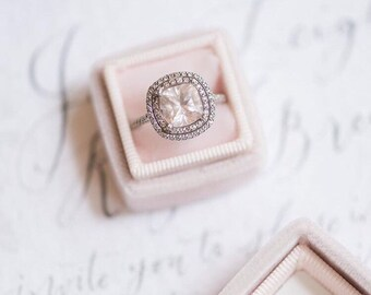 Velvet Ring Box in Pink Blush Velvet and Grosgrain For Weddings, Heirloom Jewelry, Gifts for the Bride to Be