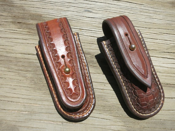 Leather Sheaths For Buck 110 Folding Knife.....Hand-Tooled