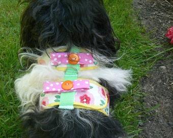 Pink Floral Comfort Soft Dog Harness - Made to Order -