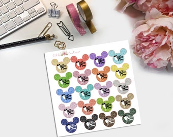 Disney Glitter Wine Time Planner Stickers
