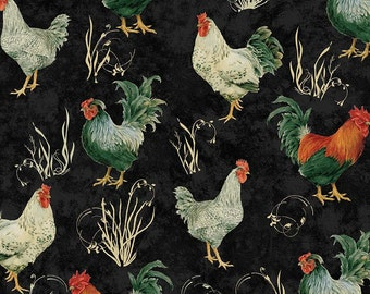 Rooster Fabric, Penny Rose Fabrics French Rooster C5071 Black, Chicken Quilt Fabric, Rooster Farm Quilt Fabric, Rebecca Baer, 100% Cotton