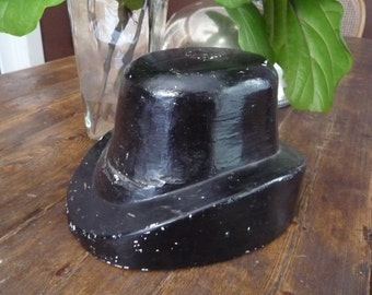 Black Chalkware British England Top Hat Millinery Mold Form Stand