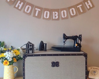 PHOTOBOOTH Vintage Wedding Bunting Banner. Birthday Party. Hessian Burlap