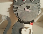 Novelty Cat Shape mini photo frame jeweled heart collar cat lover gift idea Grey and White Cat Pet Novelty Easel Back Stand Hand Painted