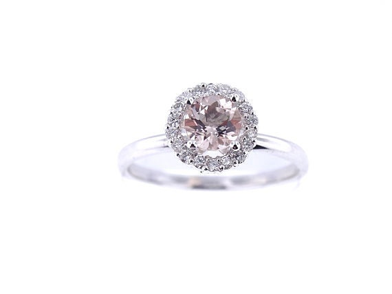 Ct Oval Peach Morganite  Sterling Silver Solitaire Ring